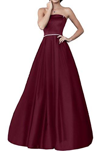 Royaldress Violett Satin Pailletten Lang Abendkleider Ballkleider Partykleider Bodenlang A-linie Rock Weinrot