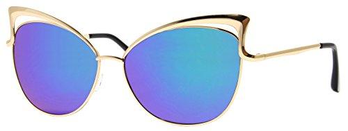 Cheapass Sonnenbrille Cat-Eye Gold Verspiegelt Metall Designer Brille Hochwertig Frauen Damen