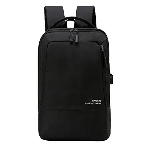 LABIUO Schulrucksack Laptoptasche Studententasche Großer Kapazität Outdoor Reiserucksack Mit USB Ladeanschluss Daypacks(Schwarz,Einheitsgröße)