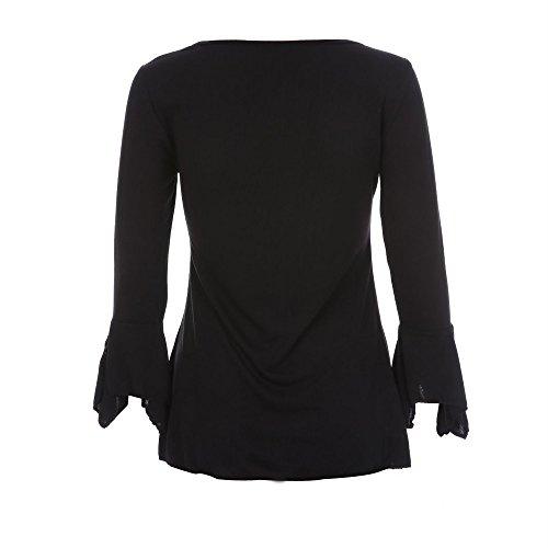 Sunenjoy Mode Femmes Casual Tops T-Shirt Lâche Haut à Manches Longues Blouse S/M/L/XL/2XL/3XL/4XL/5XL Noir