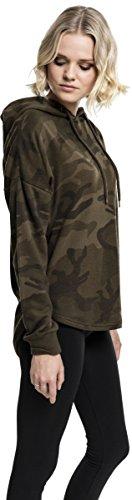 Urban Classics TB1724 Ladies Oversized Camo Hoodie - Camouflage Kapuzenpullover für Damen im angesagten Boxy Cut Olive Camo