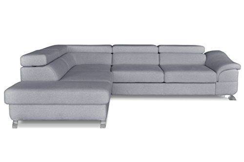 Windsor & Co Gauche Convertible Canapé d'Angle, Tissu, Gris Clair, 272 x 219 x 85 cm