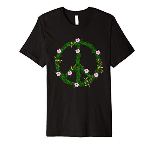 Blumen-Reben-Friedenszeichen-T-Shirt - Retro 60s 70s Hippie