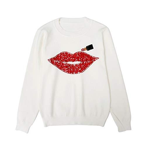 SIKESONG Designer Hand Bildete Diamanten Rote Lippen Pailletten Tops Weiblichen Lippenstift Stricken, Weiß, Größe