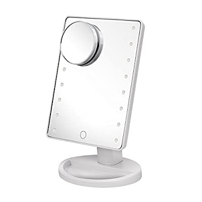SATMON Makeup Mirror with 16 LED Light & Touch Screen Dimmable with Removable 10x Magnifying Mirrors for Bathroom,Bedroom,Desktop,Tabletop - inexpensive UK light store.