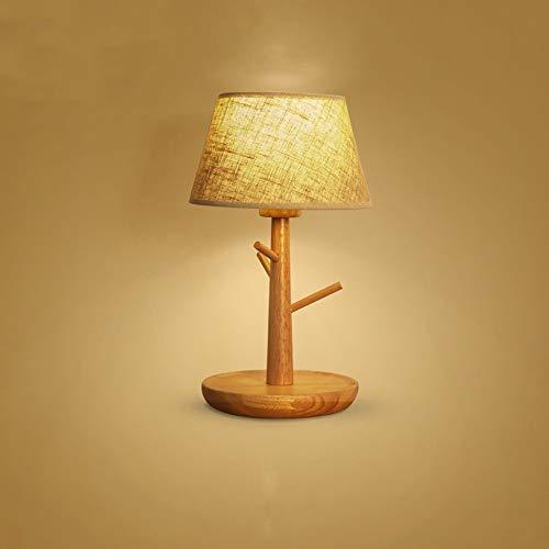 Moderne Massivholz Led Tischlampe Zeitgenössische Tuch Lampenschirm Schreibtisch Licht Schlafzimmer Nachttischlampe E27 1-Lights Desktop Leuchte - Deckenventilatoren Hampton