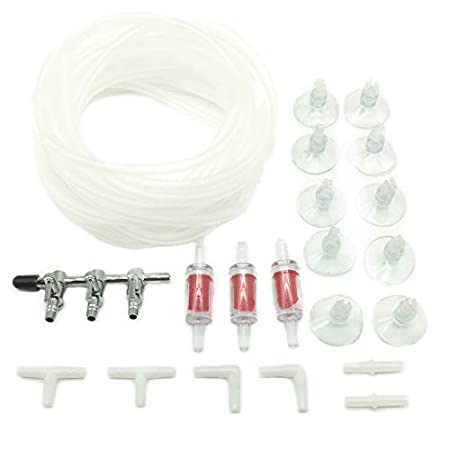 PietyPet 3-Wege Metall Luftverteiler mit 4m Luftschlauch, 3 Rückschlagventil, 10 Saugnäpfe, und 6 Steckverbinder fürs…