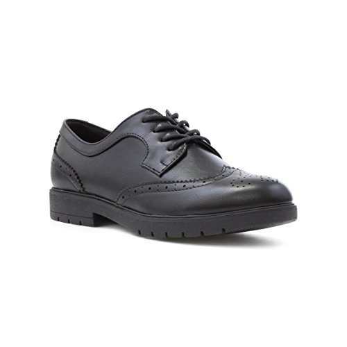 Lilley Womens Black Matte Lace up Brogue Shoe - Size 7 UK - Black