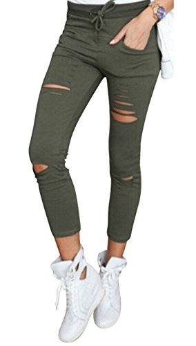 Live it style it pantaloni jeggings skinny da donna elasticizzati, strappati khaki x-large