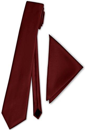 Herren Satinkrawatte mit Einstecktuch Anzug Krawatte Edel Satin 30 Farben NEU (Bordeaux)