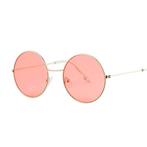 FGRYGF-eyewear Sport-Sonnenbrillen, Vintage Sonnenbrillen, Vintage Round Sunglasses Women Ocean Color Lens Mirror Sunglasses Female Metal Frame Circle Glasses Oculos UV400 Gold Red