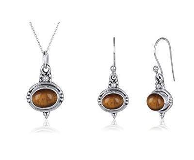 Création handmade-Parure bijoux originaux pas cher-Pendentif et Boucles d'oreille en Oeil de Tigre et Argent Massif-Forme ovale