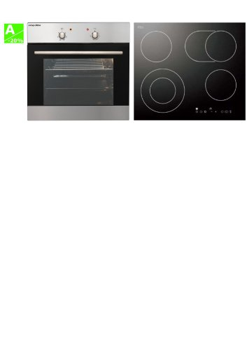 respekta 90569721 Multifunktions-Ofen mit autarkem Glaskeramik-Kochfeld