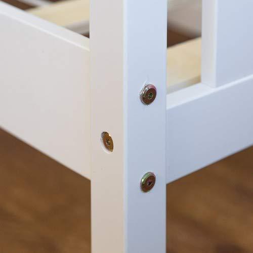 Homestyle4u 1417 Holzbett Kiefer massiv, Einzelbett aus Bettgestell mit Lattenrost, 70×140 cm, Weiß - 5