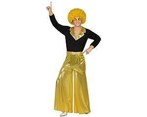 Atosa 26387 - Golden fiebre del disco, Herrenkostüm, tamaño 52/54, negro/dorado