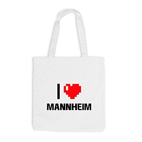 Borsa Di Juta - Amo Mannheim - Germania Viaggio Cuore Cuore Pixel Bianco