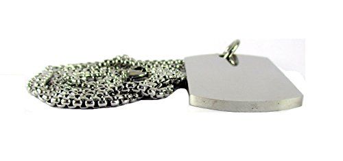 Streetsoul Silver Stainless Steel 3mm Army Dog Tag Pendant Necklace for Men