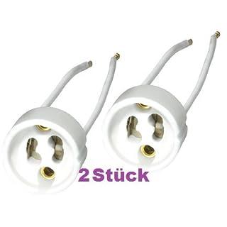 LED- und Halogen Lampen Fassung, GU10 Keramik, Anschlusskabel:10cm, 230V,maximal: 75 W (2 Stück)