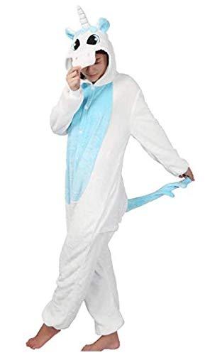 Carnevale halloween pigiama o costume di pigiama cosplay party onepiece intero animali unicorno regalo di compleanno per adulti adolescenziale ragazzi (s(145-155cm), blu)