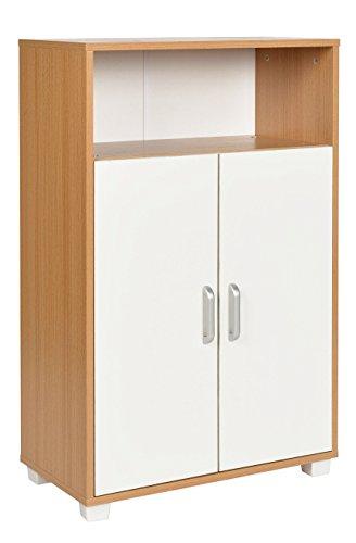 Ts-ideen armadietto mobiletto comó 94x60 cm stile moderno con doppia anta e vano aperto. color rovere e bianco