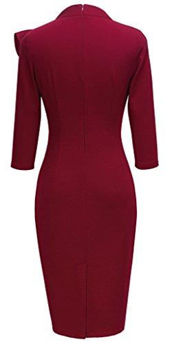 HOMEYEE Damen Weinlese Bowknot 3/4 Arm Party Kleid B244 Rot