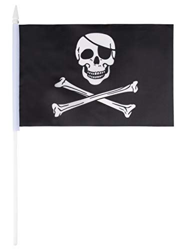 Juvale Piraten-Flaggen - 72 Stück Handheld Black Jolly Roger Totenkopf und Gekreuzte Knochen Flaggen auf Stock mit Speerhead Spitze, 14 x 7,8 Zoll (Halloween Film Zeichen)