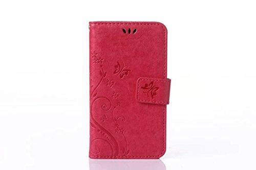 DBIT Samsung Galaxy S Duos Duos 2 GT S7562 S7582 hülle - Ledertasche Schutzhülle mit Ständer für Samsung Galaxy S Duos Duos 2 GT S7562 S7582 Tasche Leder - Rose
