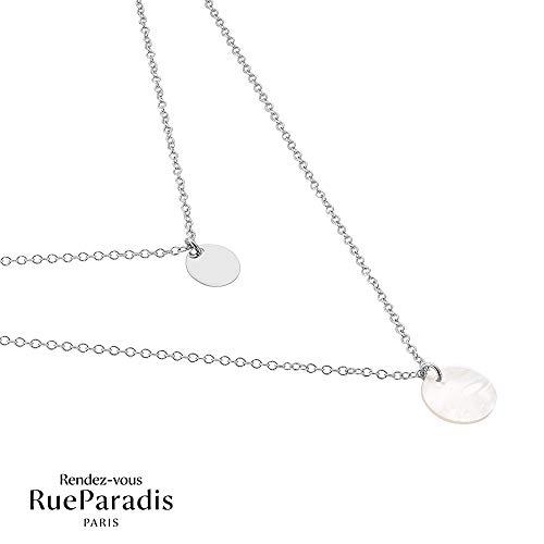 Rendez-vous RueParadis Paris - Halskette Pantheon - Plättchen - Massives/Sterling Silber 925 - Damenschmuck Sterling Pantheon