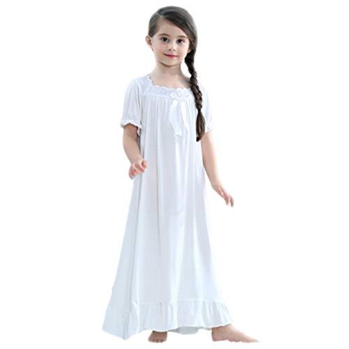 Kinder Nachthemden Mädchen Kurzarm Prinzessin Schlafanzüge mit Lace (Vintage Mädchen Nachthemd)