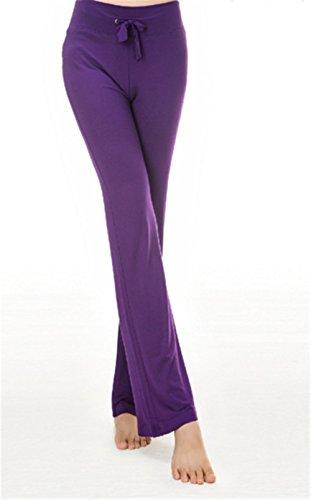 Hippolo Survêtement pour femme Pantalon décontracté Pantalon droit avec cordon de serrage pour le yoga et course à pied S Green violet intense
