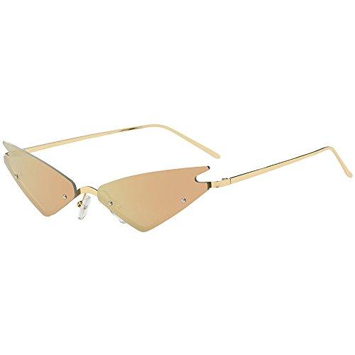 Skang Unisex Triangle Katzenauge Sonnenbrille Retro Partybrillen Klassische Cat Eye Kleine Brillen Rahmen Brillen Metallrahmen Nerdbrille(Einheitsgröße,C)