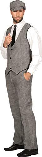 Hollywood Herren Kostüm Motto - WILBERS & WILBERS 20er Jahre Peaky Blinders Anzug Schwarz-Weiß Lange Hose Weste Mütze Schiebermütze The Roaring Twenties 20's, Größe:48