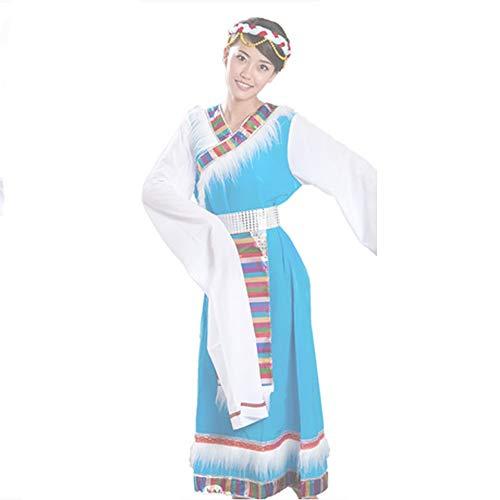 Tanz Kostüm Tibetischen - Jian E& Tanzkostüm-New National Wind Tibetischen Tanz Performance Kostüm Minority Tibetischen Kostüm Sleeve Bühnenkostüm Female-Red + Blue (Farbe : Blau, größe : XXXL)