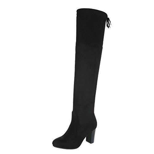 Soldat Kostüm Winter Zurück - Ital-Design Overknees Damen-Schuhe Overknees Pump High Heels Stiefel Schwarz, Gr 39, B12H-Hb-