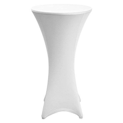 Housse de table de bistrot - Stretch - « Stella » - Ø 80-85cm - Blanc