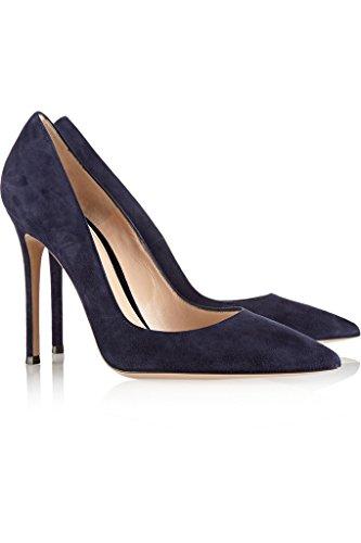 EDEFS Damenschuhe Faschion 100mm Spitzschuh High Heel Dressing Hochzeit Pumpen Schuhe Dark-Blau