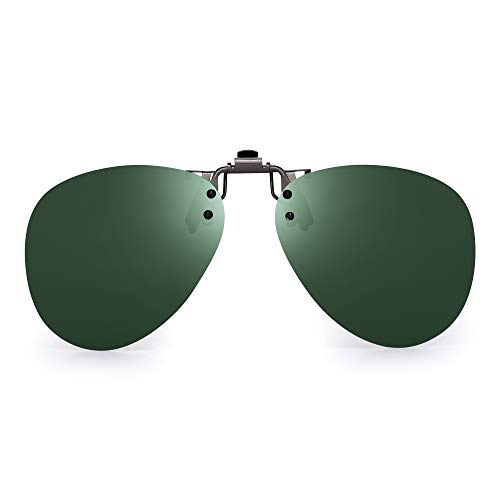 JM Polarisiert Clip auf Sonnenbrillen Rahmenlos Flip up Flieger Stil Linsen für Rezept Brillen Grün