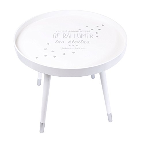 THE HOME DECO FACTORY - HD3205 - Table Plateau Ronde Citation, Bois, Blanc, 50 x 50 x 43,8 cm