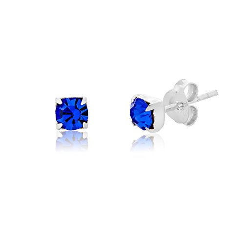DTP Silver - Orecchini a perno Rotondi Argento 925 con Cristalli Swarovski - Colore: Blu Zaffiro