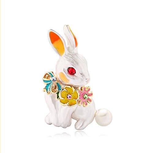 Yazilind Schöne Emaille Kaninchen Tier Brosche Anstecknadel Abzeichen Frauen Schmuck