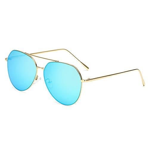 MJDABAOFA Sonnenbrillen,Übergroße Pilot Ovale Sonnenbrille Frauen Männer Gold Frame Blaue Linse Sonnenbrille Aviator Metallrahmen Mirror Fahren Frau Gläser