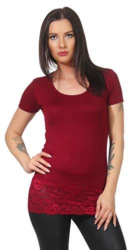 0055aee6b0e6 Mellice - Damen Kurzarm Longshirt T-Shirt Longtop Spitze (060, Weinrot, XXL)