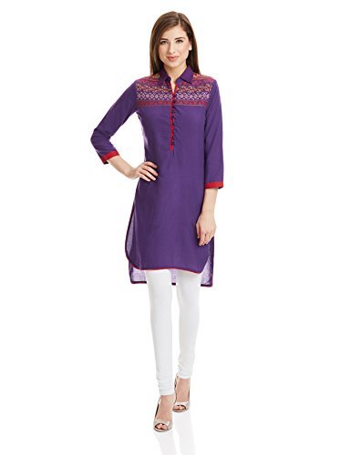 Biba Women's Straight Kurta (TANABANA11047_Purple_38)  available at amazon for Rs.599