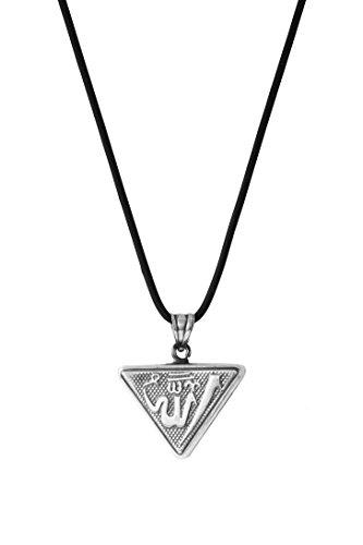 925 Silber Halskette mit Anhänger 'Muska' Allah Dua Koran - schwarz
