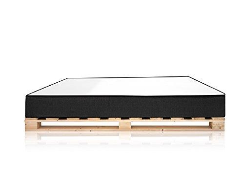 moebel-eins PALETTI Massivholzbett inkl. Moody Komfort Matratze mit Memory-Schaum Holzbett Palettenbett Bett aus Paletten in 90 x 200 cm Fichte Natur, 90 x 200