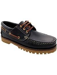Zapatos Náuticos de Piel para Hombre Piso Grueso, mod.848, Made in Spain, Garantia de Calidad.