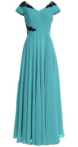 MACloth Women Cap Sleeve Long Mother of Bride Dress Wedding Party Formal Gown Turquoise
