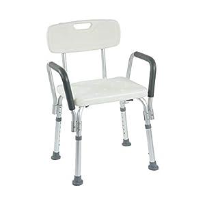 Duschstuhl mit Armlehne und Rückenlehne, höhenverstellbar