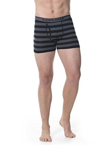 Icebreaker Herren Boxershorts Anatomica Boxers Stripe schwarz - Black/Monsoon/White