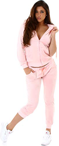 Jela London Damen Nicki Hausanzug Jogginganzug Velours Samt Jogginghose Freizeithose Kordel Tunnelzug Jacke, Rosé 36 38 (M)